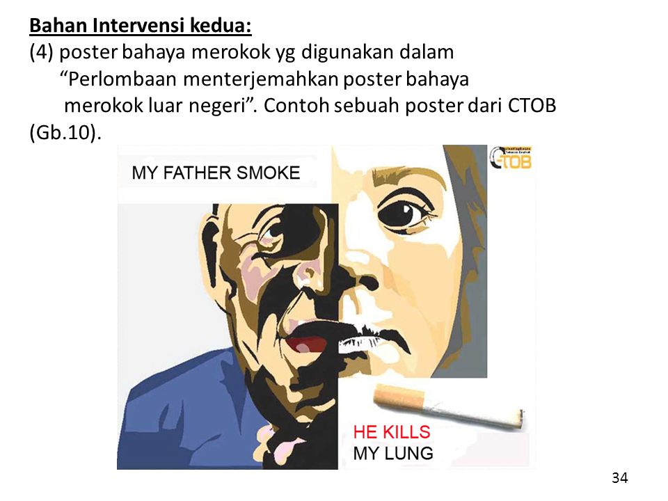 Bahan Intervensi kedua: (4) poster bahaya merokok yg digunakan dalam Perlombaan menterjemahkan poster bahaya merokok luar negeri .