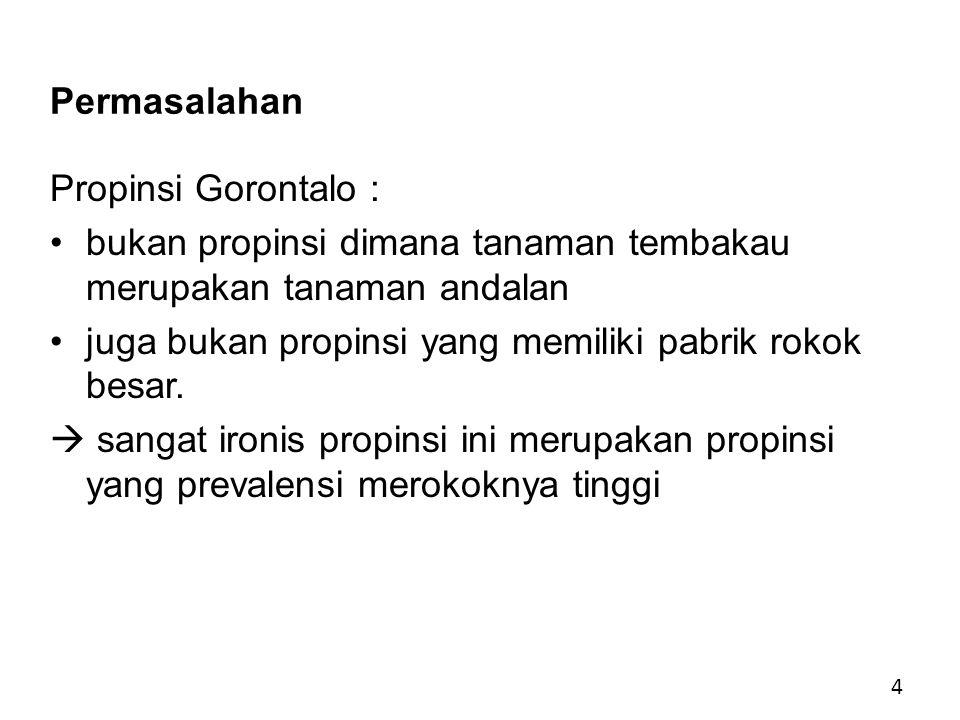 Permasalahan Propinsi Gorontalo : bukan propinsi dimana tanaman tembakau merupakan tanaman andalan.