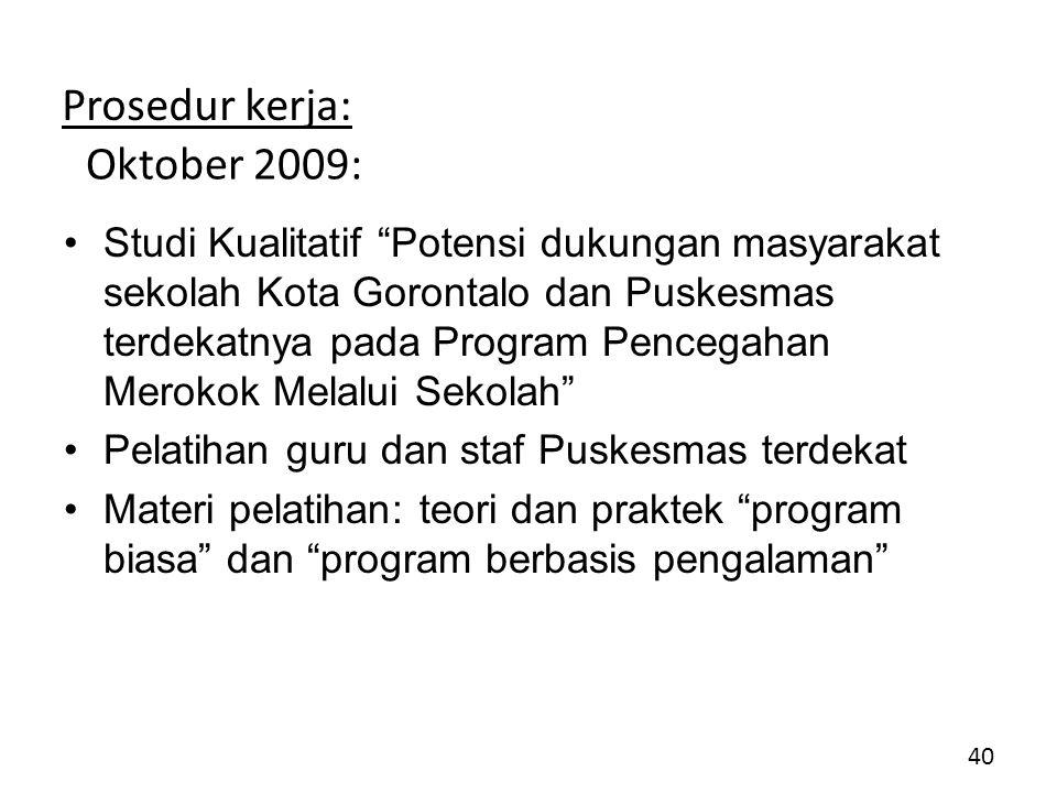 Prosedur kerja: Oktober 2009: