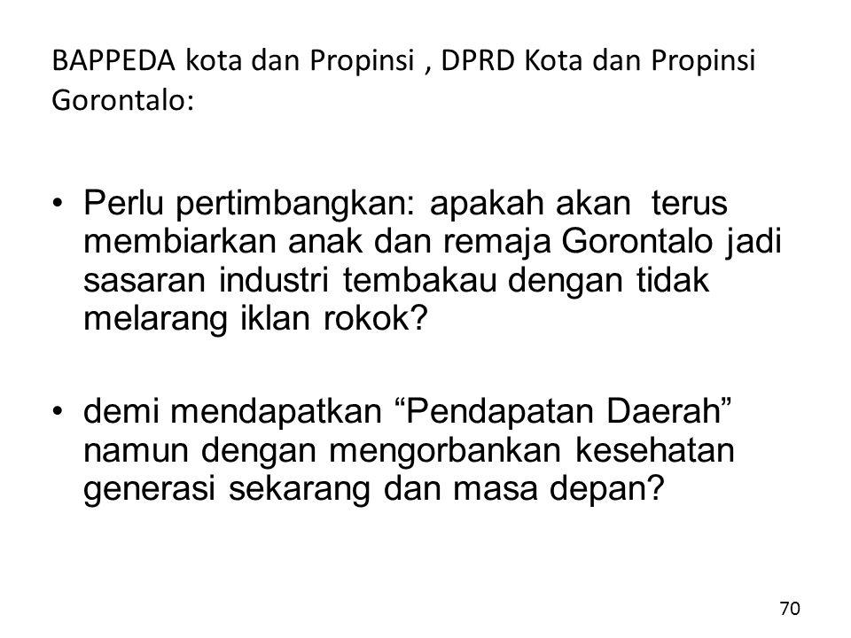 BAPPEDA kota dan Propinsi , DPRD Kota dan Propinsi Gorontalo: