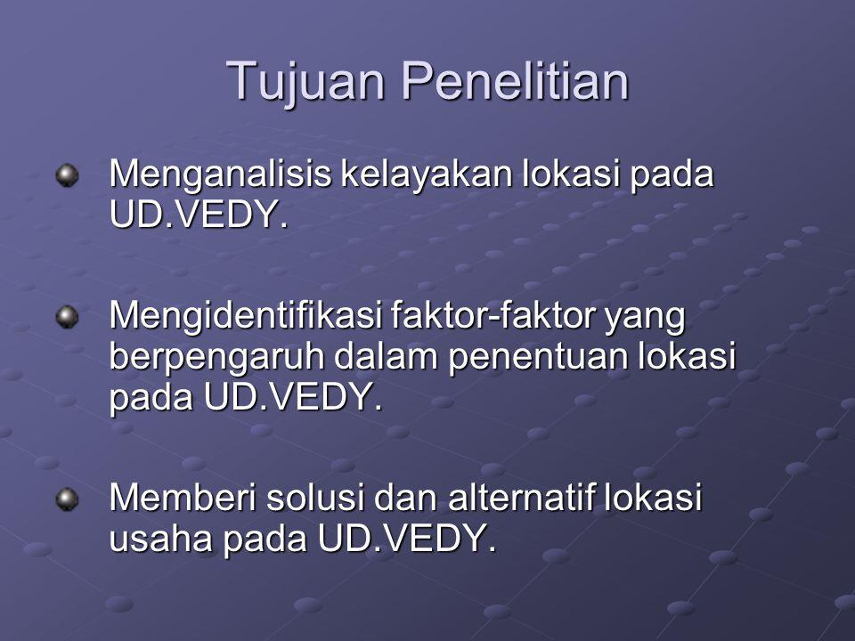 Tujuan Penelitian Menganalisis kelayakan lokasi pada UD.VEDY.