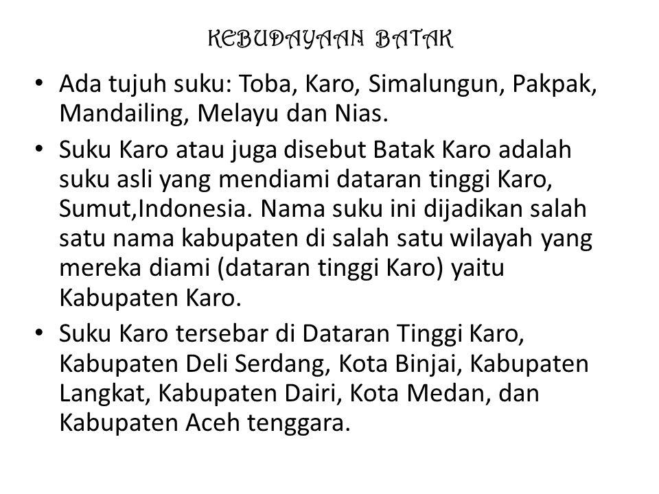 KEBUDAYAAN BATAK Ada tujuh suku: Toba, Karo, Simalungun, Pakpak, Mandailing, Melayu dan Nias.