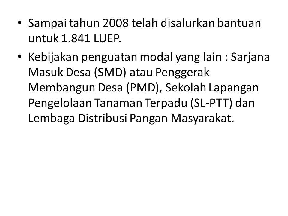 Sampai tahun 2008 telah disalurkan bantuan untuk 1.841 LUEP.
