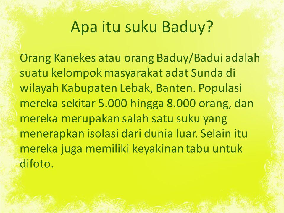 Apa itu suku Baduy