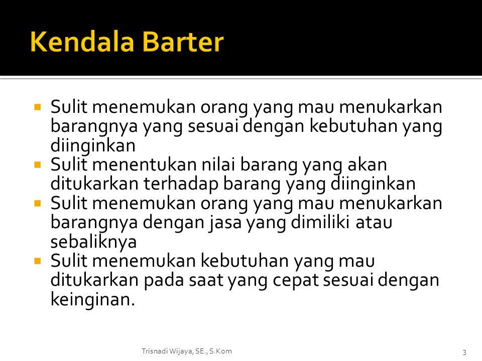 Kendala Barter Sulit menemukan orang yang mau menukarkan barangnya yang sesuai dengan kebutuhan yang diinginkan.