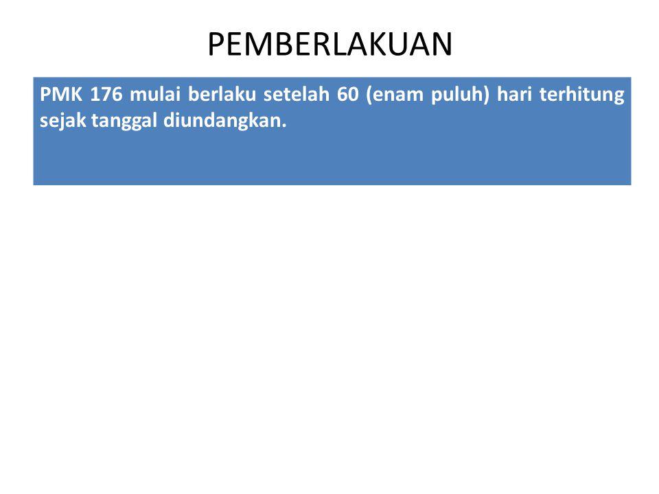 PEMBERLAKUAN PMK 176 mulai berlaku setelah 60 (enam puluh) hari terhitung sejak tanggal diundangkan.