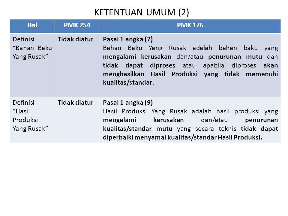 KETENTUAN UMUM (2) Hal PMK 254 PMK 176