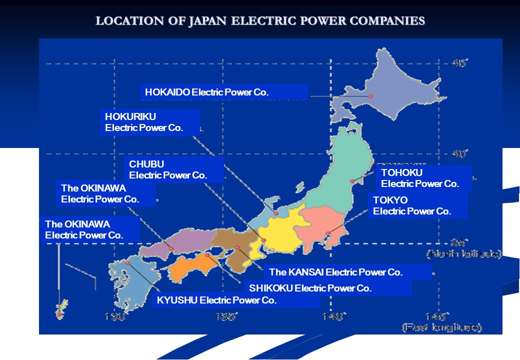 LOCATION OF JAPAN ELECTRIC POWER COMPANIES