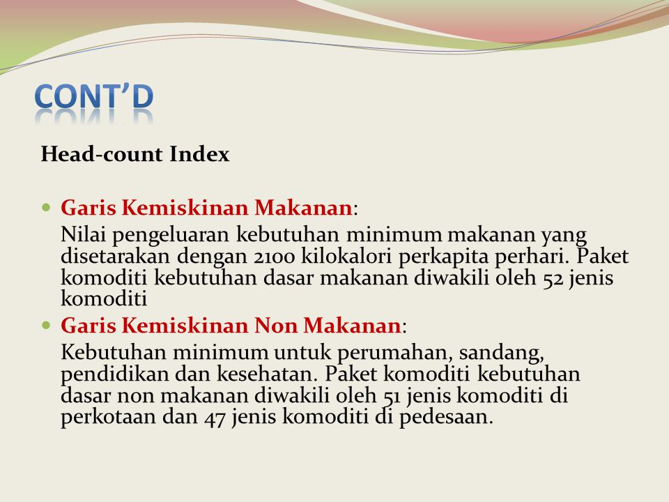Cont'd Head-count Index Garis Kemiskinan Makanan: