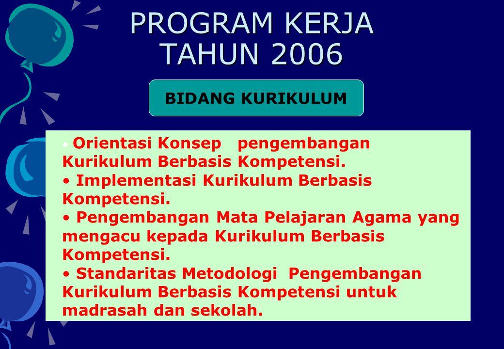 PROGRAM KERJA TAHUN 2006 BIDANG KURIKULUM