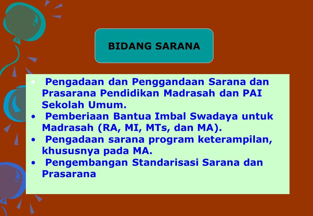 BIDANG SARANA Pengadaan dan Penggandaan Sarana dan Prasarana Pendidikan Madrasah dan PAI Sekolah Umum.