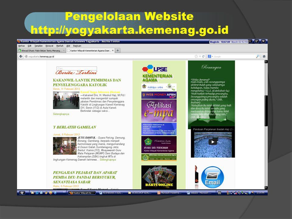 Pengelolaan Website http://yogyakarta.kemenag.go.id