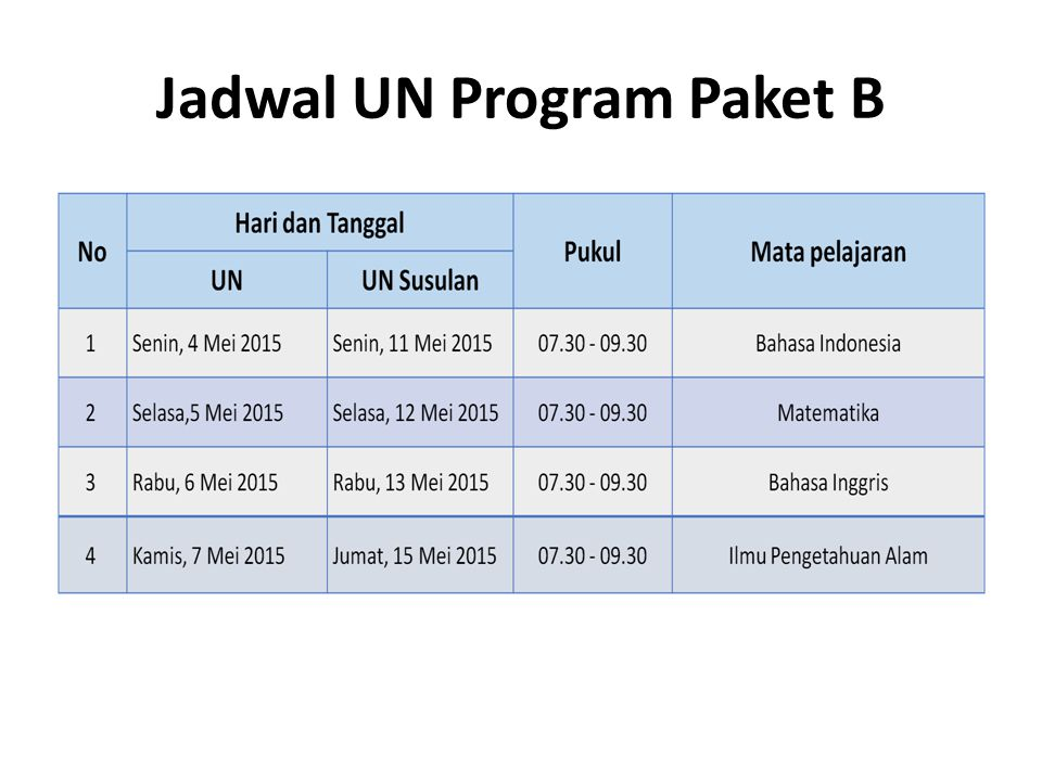 Jadwal UN Program Paket B