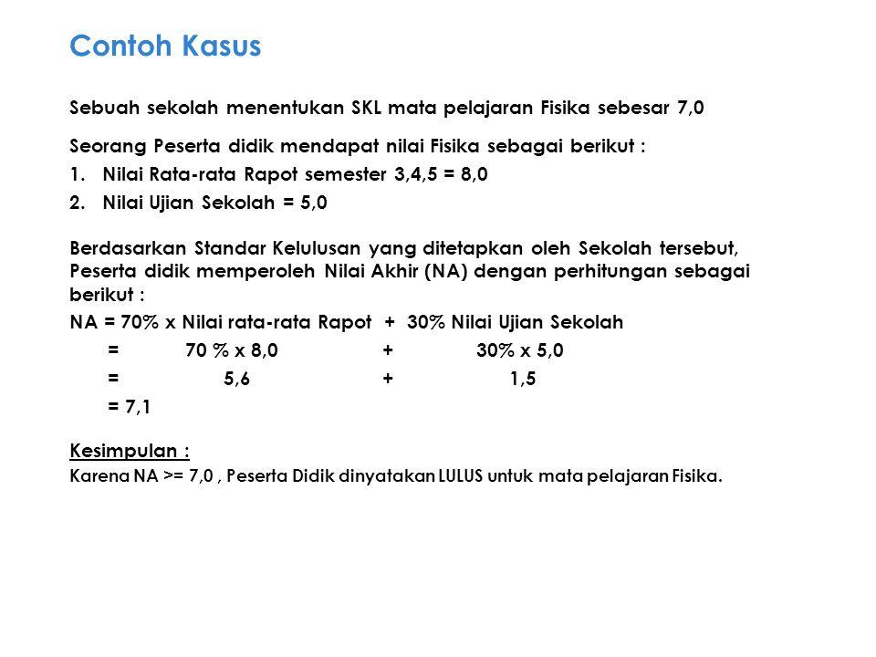 Contoh Kasus Sebuah sekolah menentukan SKL mata pelajaran Fisika sebesar 7,0. Seorang Peserta didik mendapat nilai Fisika sebagai berikut :