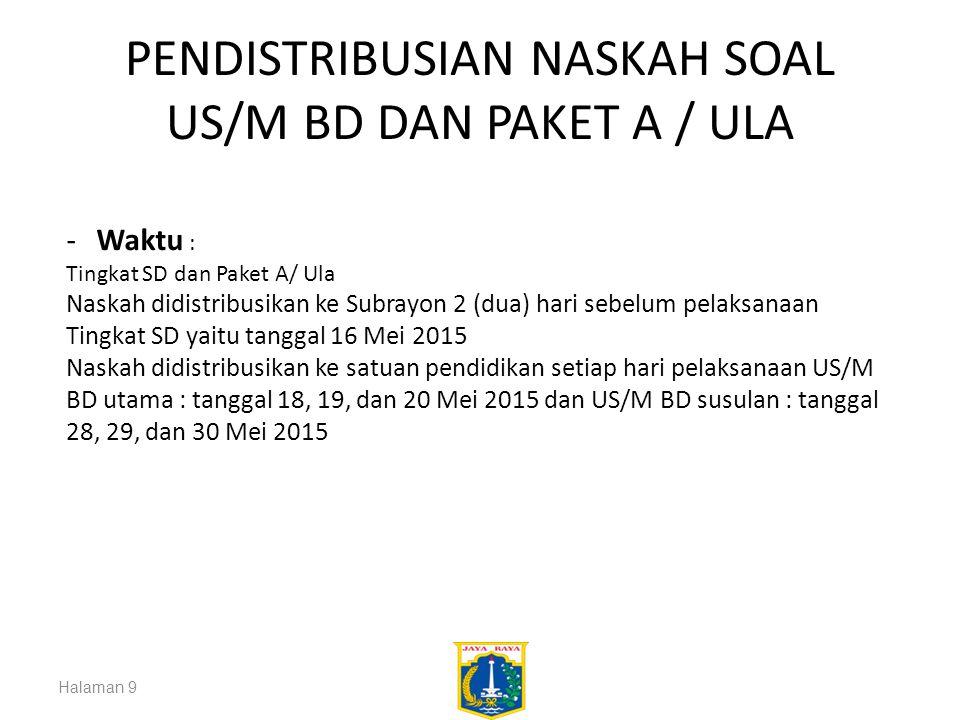 PENDISTRIBUSIAN NASKAH SOAL US/M BD DAN PAKET A / ULA