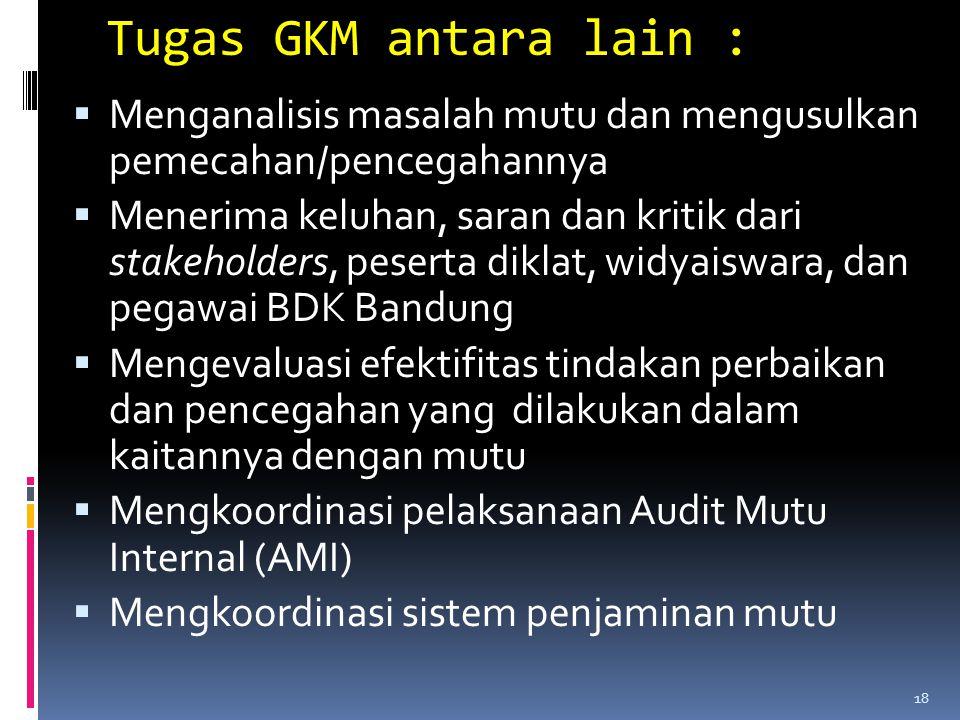 Tugas GKM antara lain : Menganalisis masalah mutu dan mengusulkan pemecahan/pencegahannya.