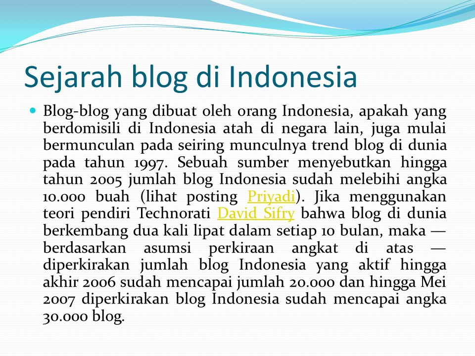Sejarah blog di Indonesia