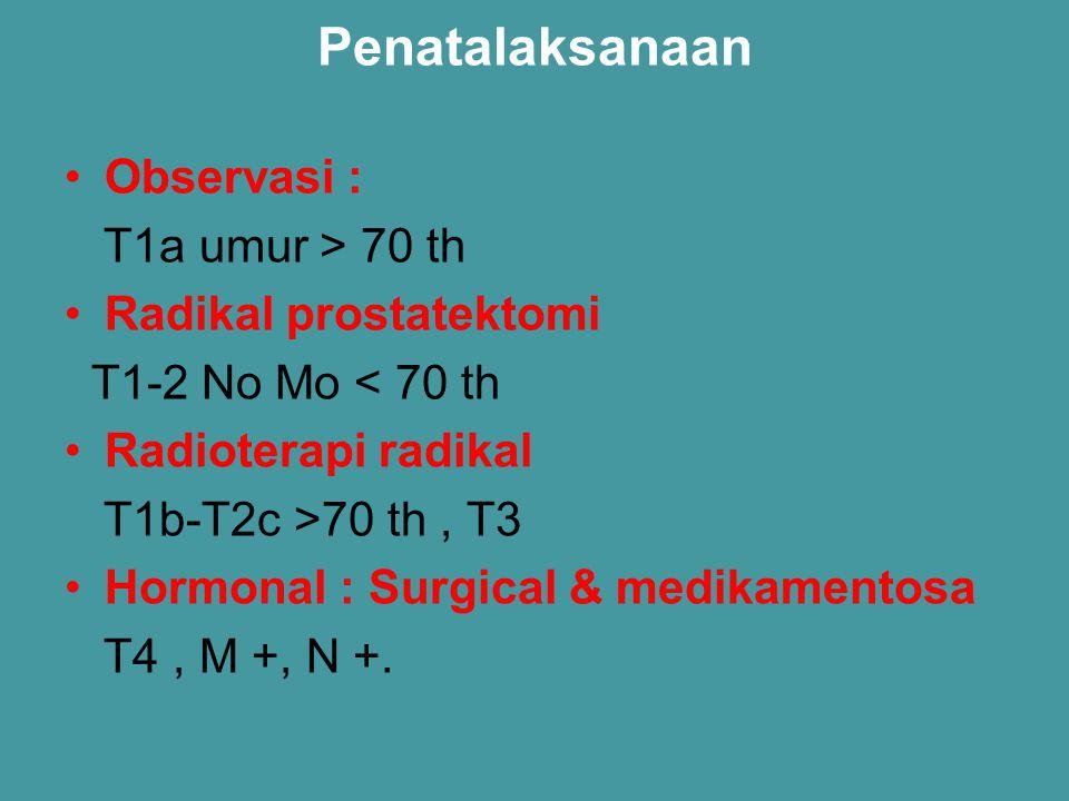 Penatalaksanaan Observasi : T1a umur > 70 th Radikal prostatektomi