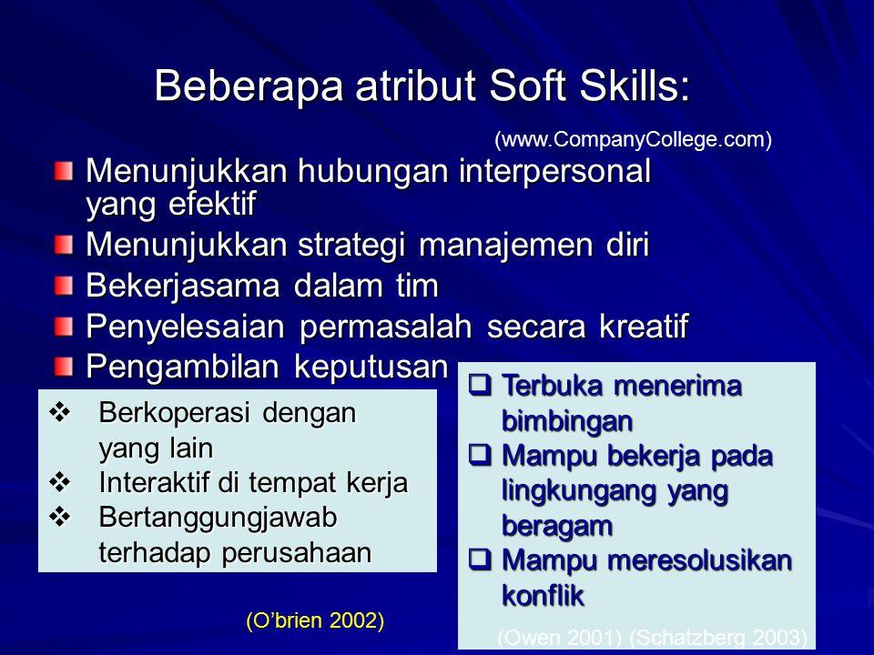 Beberapa atribut Soft Skills: