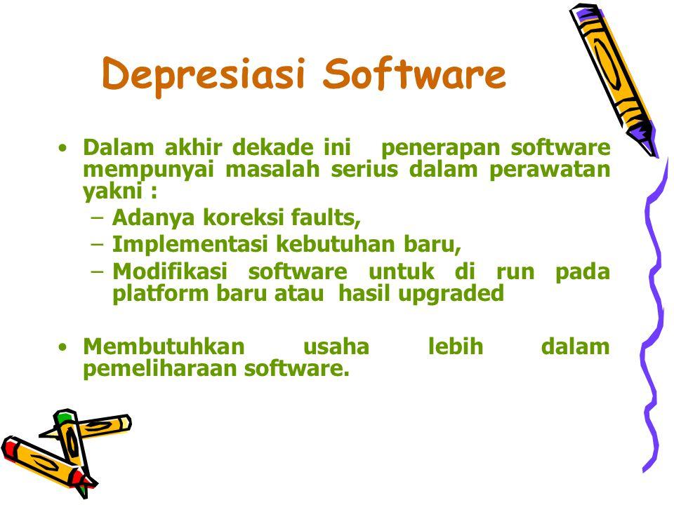 Depresiasi Software Dalam akhir dekade ini penerapan software mempunyai masalah serius dalam perawatan yakni :
