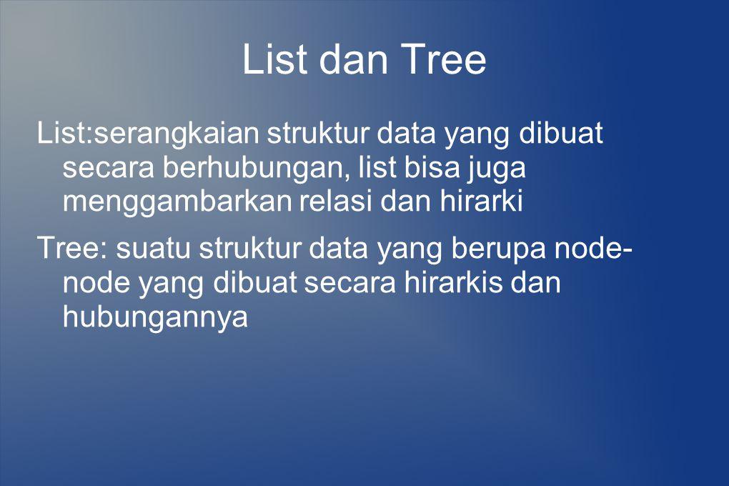 List dan Tree List:serangkaian struktur data yang dibuat secara berhubungan, list bisa juga menggambarkan relasi dan hirarki.