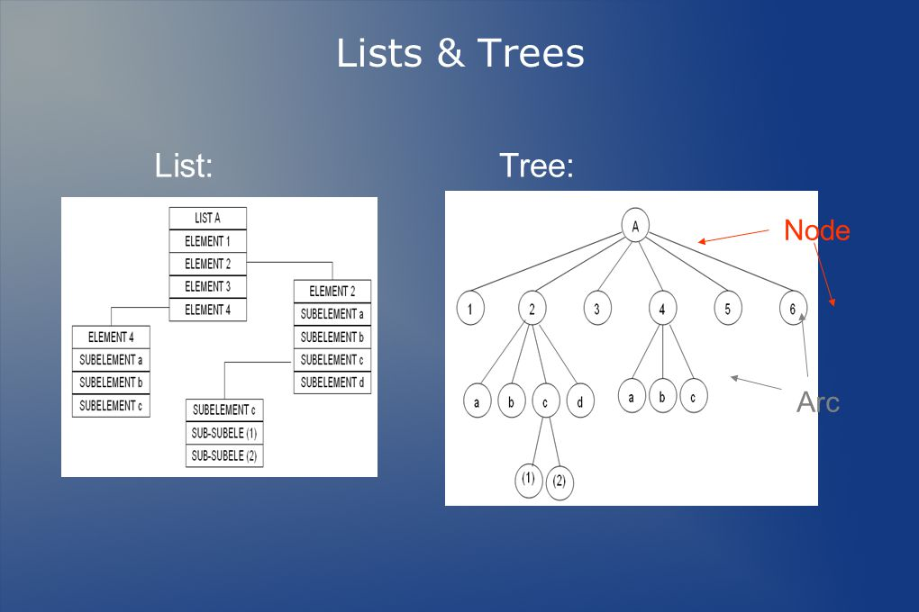 Lists & Trees List: Tree: Node Arc