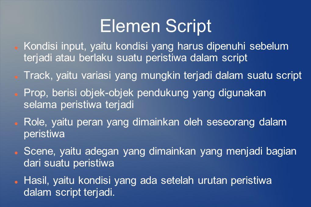 Elemen Script Kondisi input, yaitu kondisi yang harus dipenuhi sebelum terjadi atau berlaku suatu peristiwa dalam script.