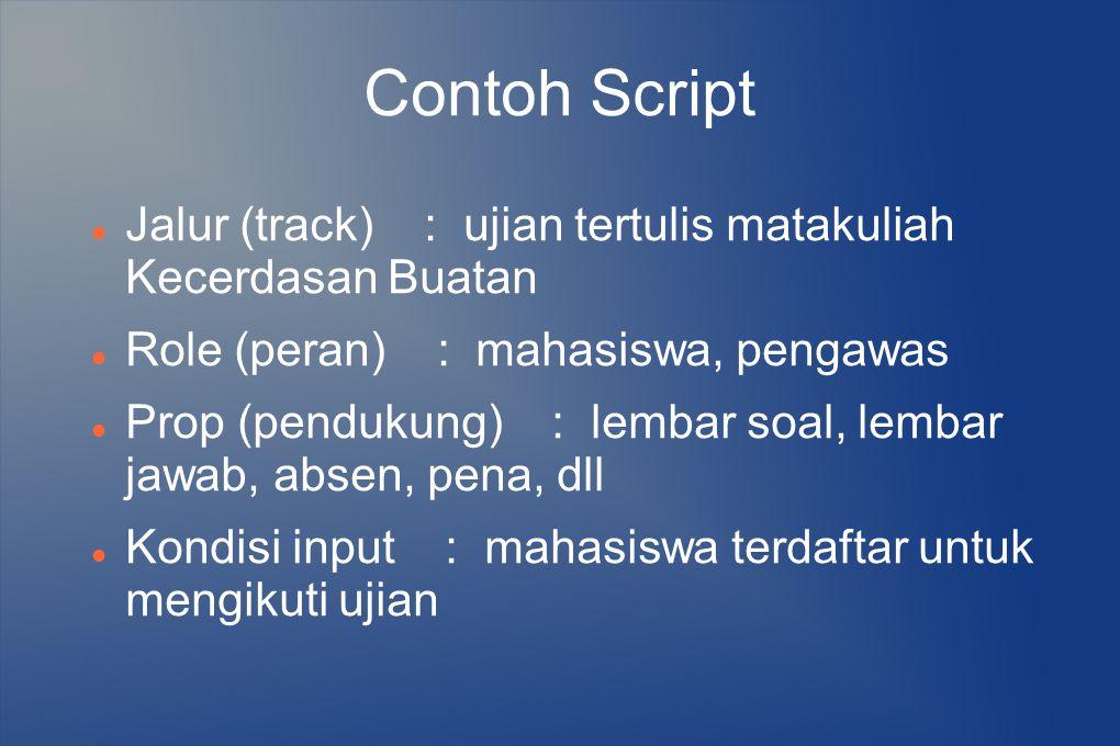 Contoh Script Jalur (track) : ujian tertulis matakuliah Kecerdasan Buatan. Role (peran) : mahasiswa, pengawas.