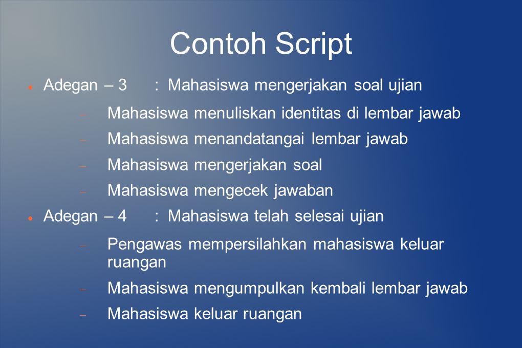 Contoh Script Adegan – 3 : Mahasiswa mengerjakan soal ujian