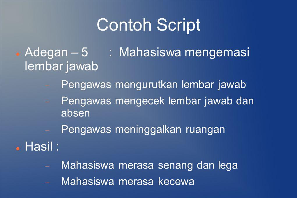 Contoh Script Adegan – 5 : Mahasiswa mengemasi lembar jawab Hasil :