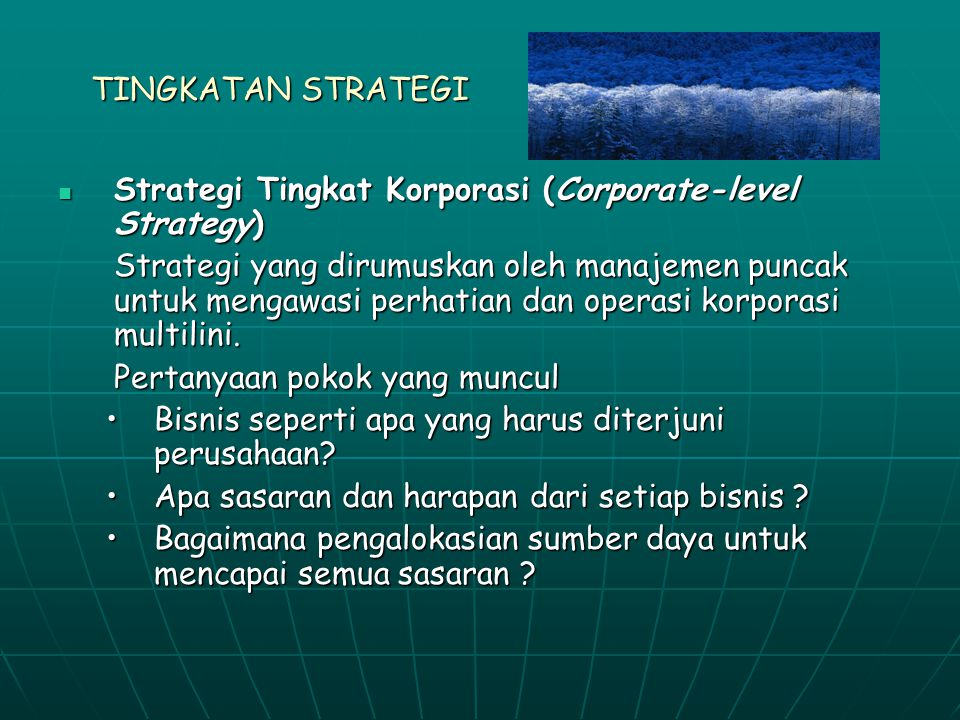 TINGKATAN STRATEGI Strategi Tingkat Korporasi (Corporate-level Strategy)