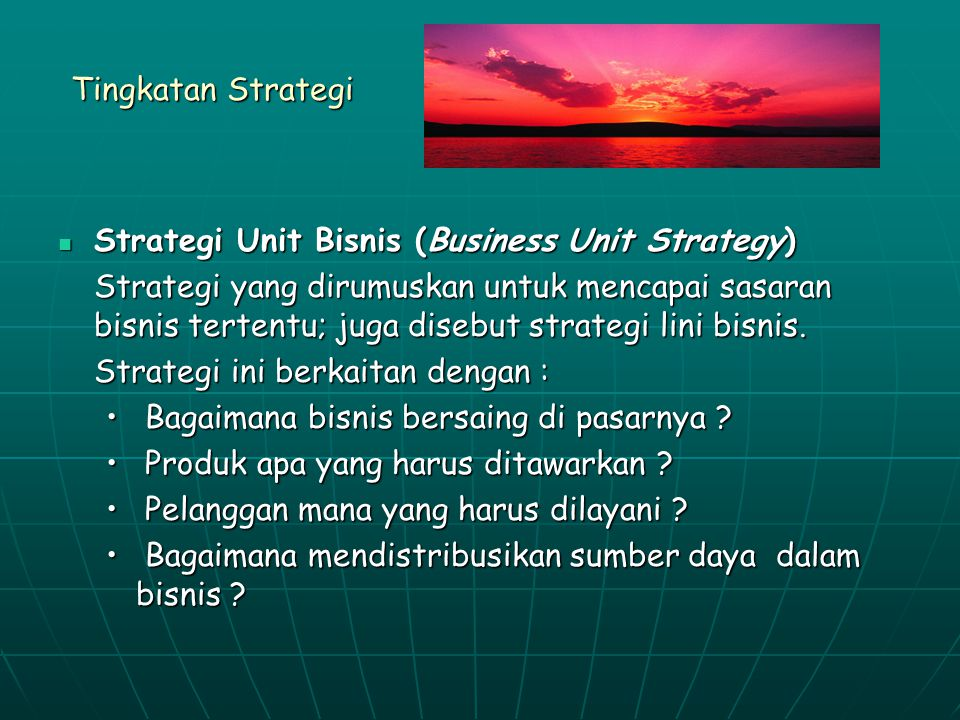 Tingkatan Strategi Strategi Unit Bisnis (Business Unit Strategy)