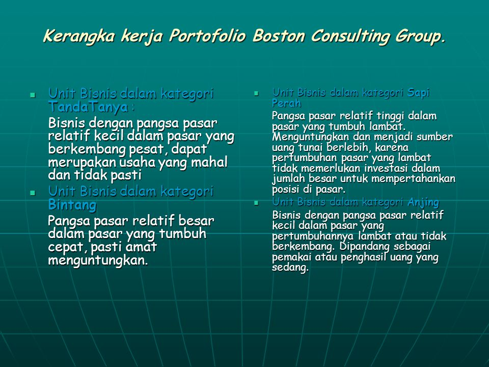 Kerangka kerja Portofolio Boston Consulting Group.