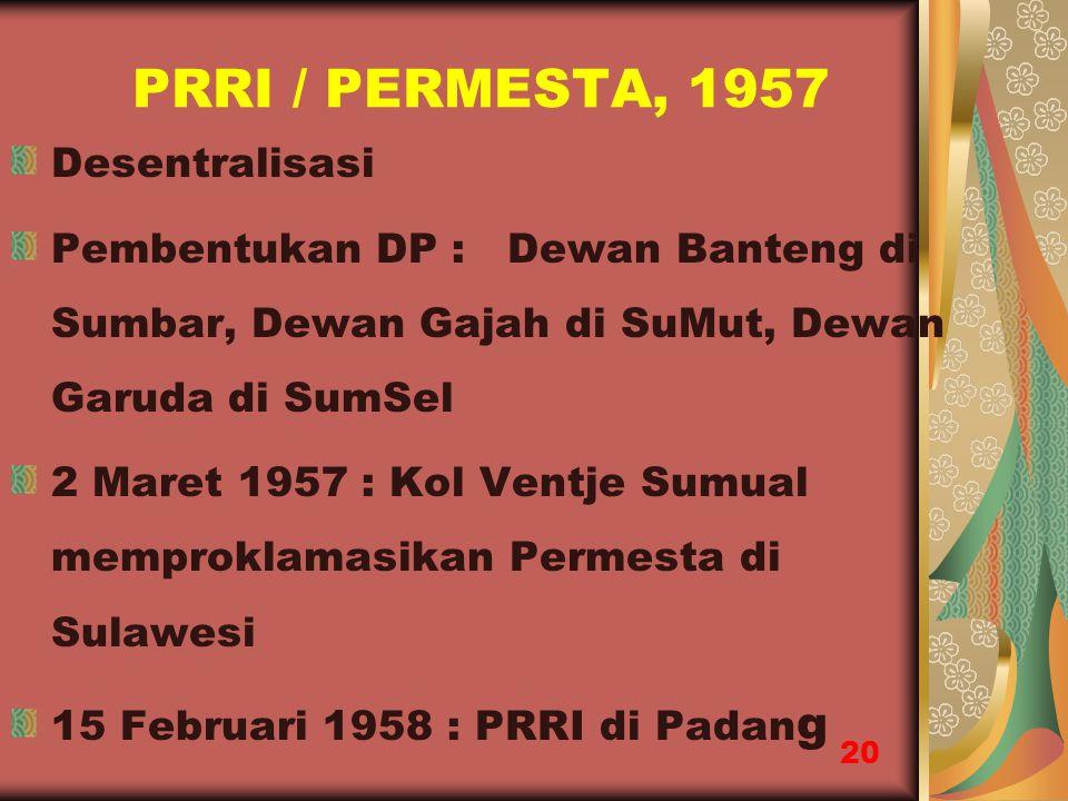 PRRI / PERMESTA, 1957 Desentralisasi