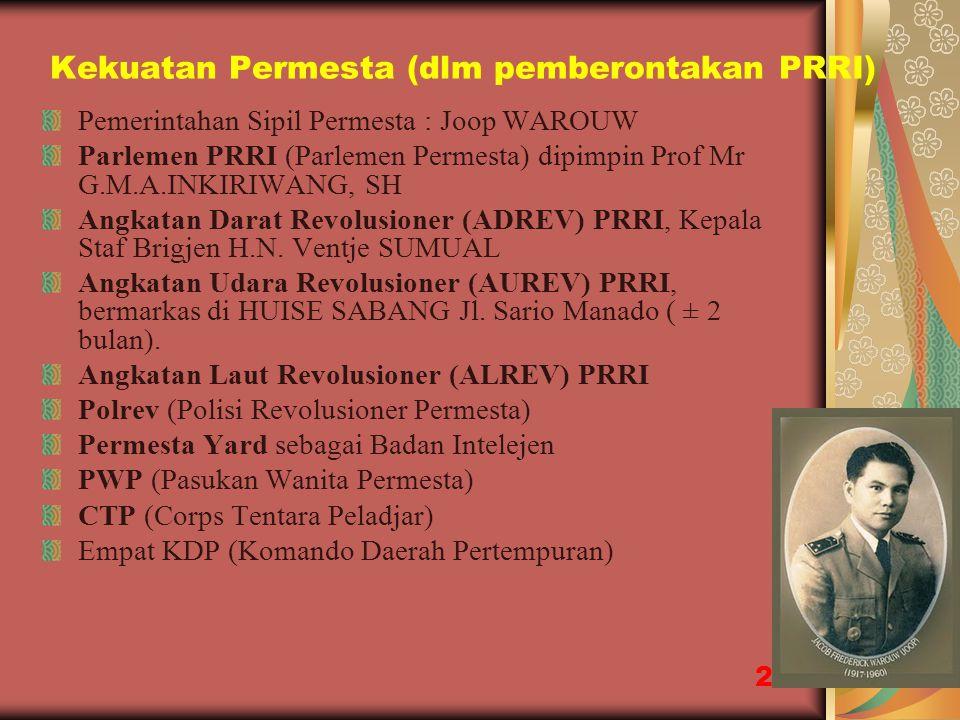 Kekuatan Permesta (dlm pemberontakan PRRI)