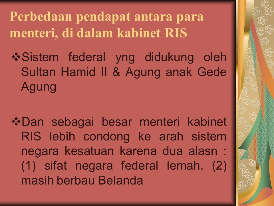 Perbedaan pendapat antara para menteri, di dalam kabinet RIS