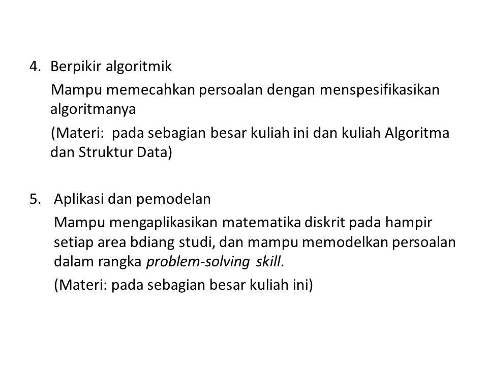 Berpikir algoritmik Mampu memecahkan persoalan dengan menspesifikasikan algoritmanya.