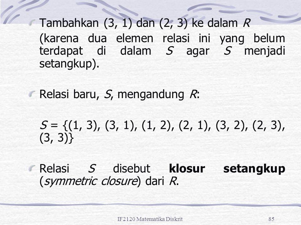 Tambahkan (3, 1) dan (2, 3) ke dalam R