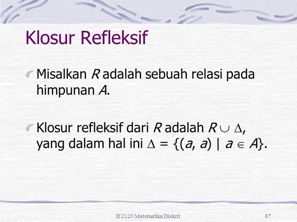 Klosur Refleksif Misalkan R adalah sebuah relasi pada himpunan A.