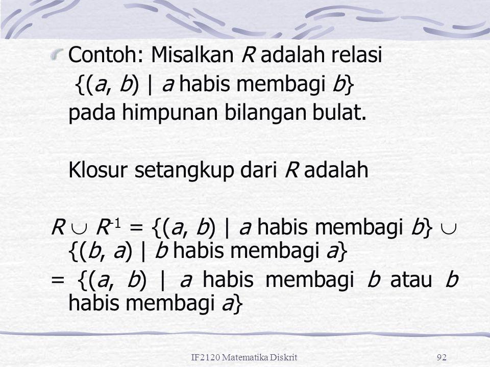 Contoh: Misalkan R adalah relasi {(a, b) | a habis membagi b}