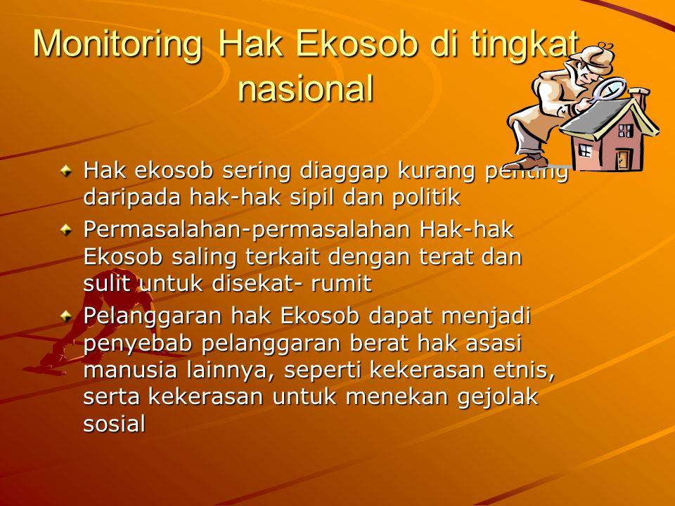 Monitoring Hak Ekosob di tingkat nasional