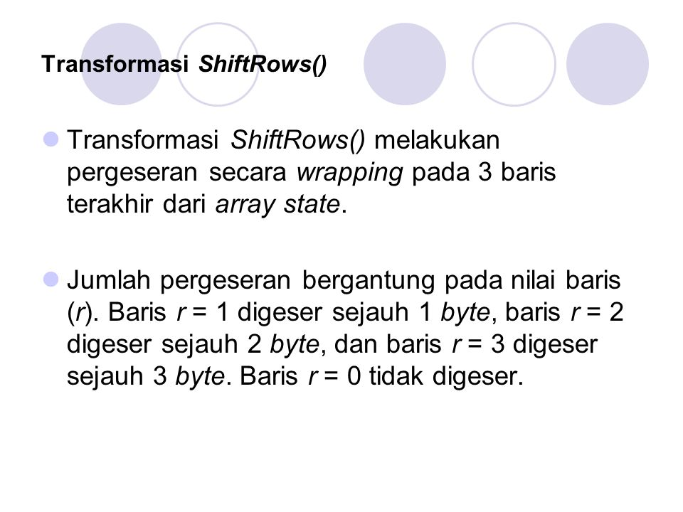 Transformasi ShiftRows()
