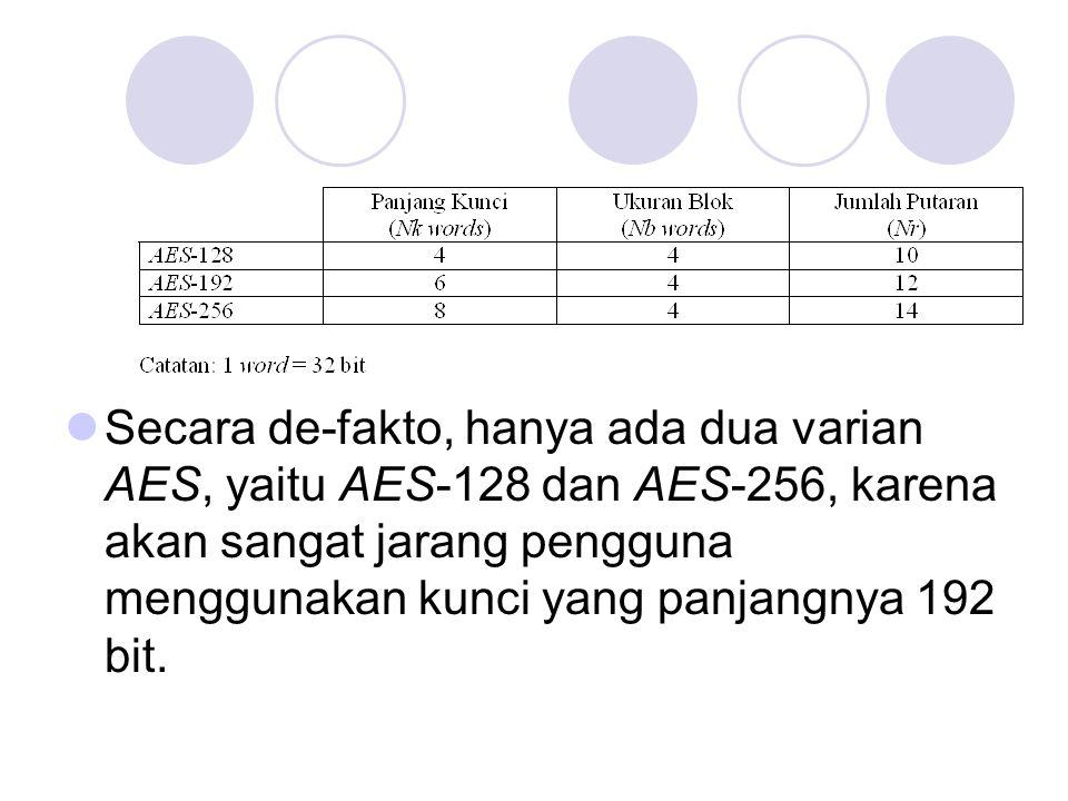 Secara de-fakto, hanya ada dua varian AES, yaitu AES-128 dan AES-256, karena akan sangat jarang pengguna menggunakan kunci yang panjangnya 192 bit.