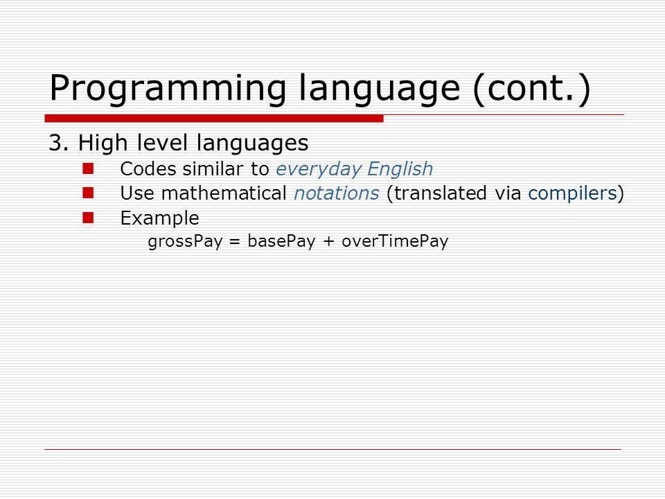 Programming language (cont.)