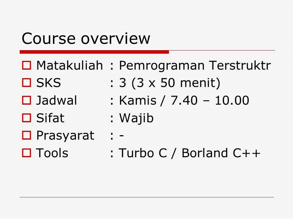 Course overview Matakuliah : Pemrograman Terstruktr