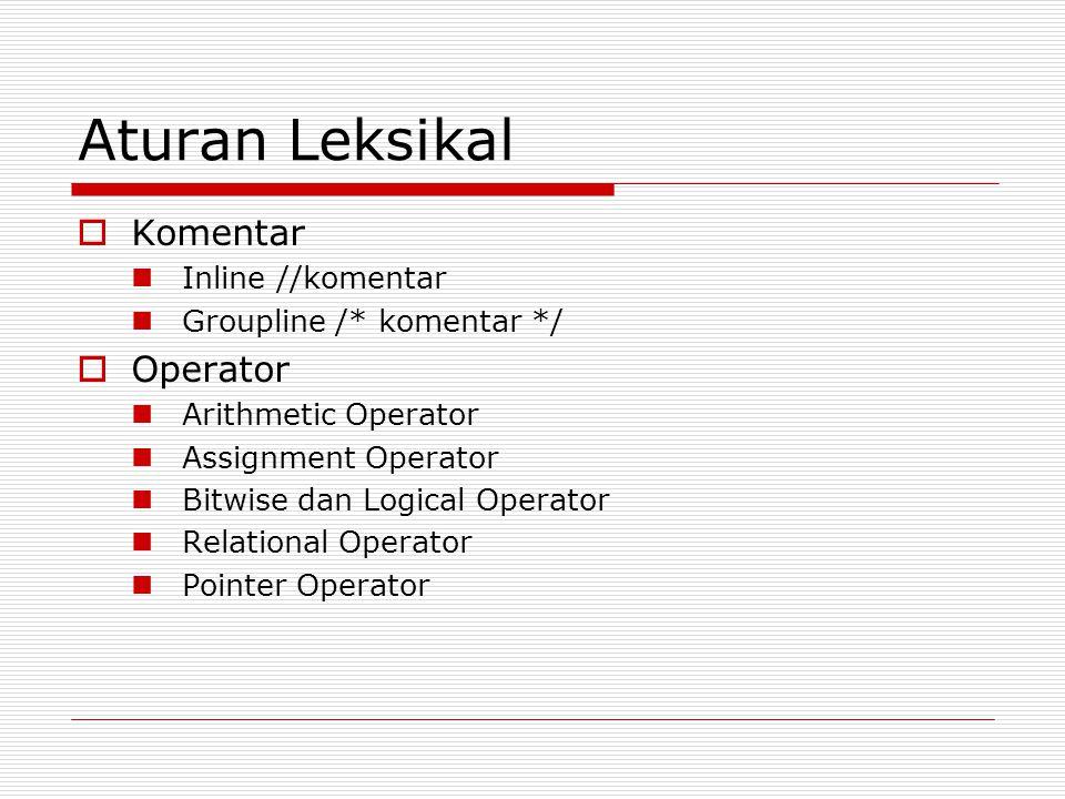 Aturan Leksikal Komentar Operator Inline //komentar
