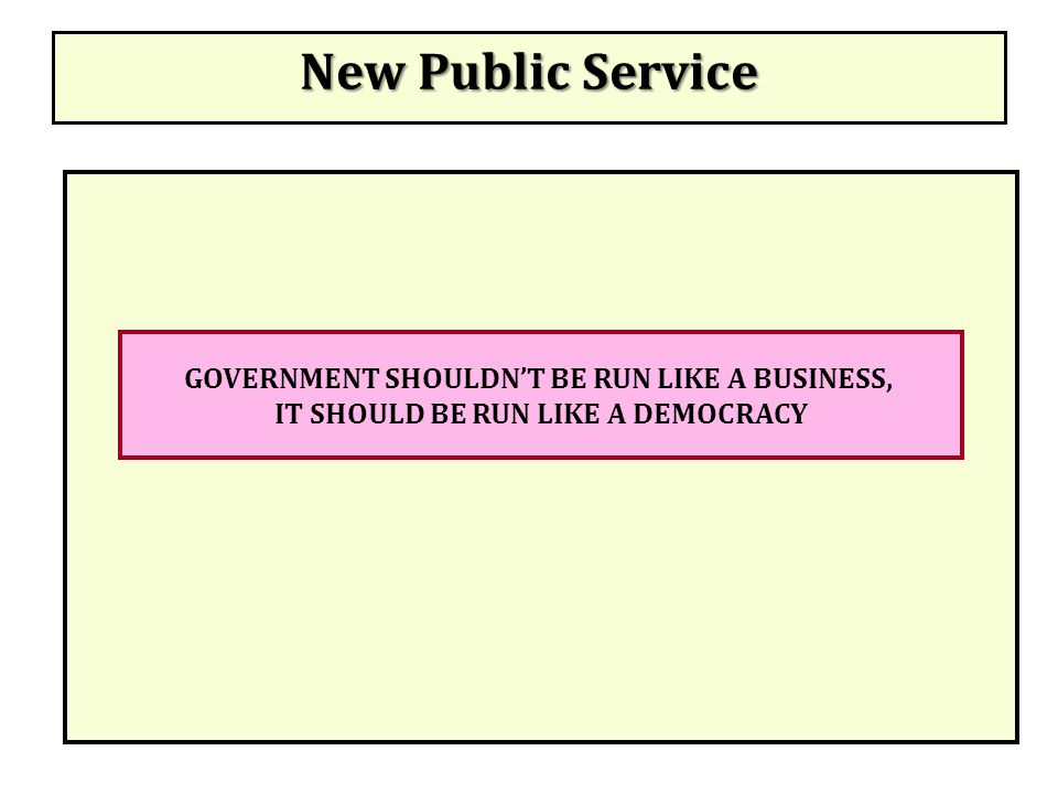New Public Service GOVERNMENT SHOULDN'T BE RUN LIKE A BUSINESS,
