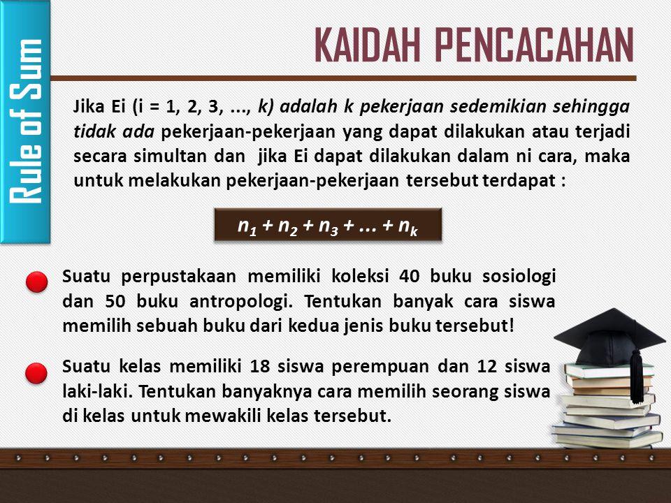 KAIDAH PENCACAHAN Rule of Sum n1 + n2 + n3 + ... + nk