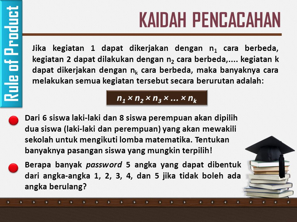 KAIDAH PENCACAHAN Rule of Product n1 × n2 × n3 × ... × nk