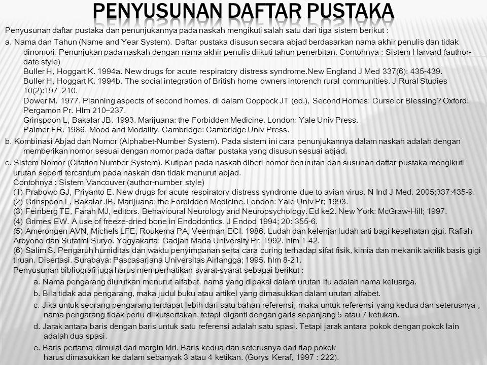 Penyusunan Daftar Pustaka